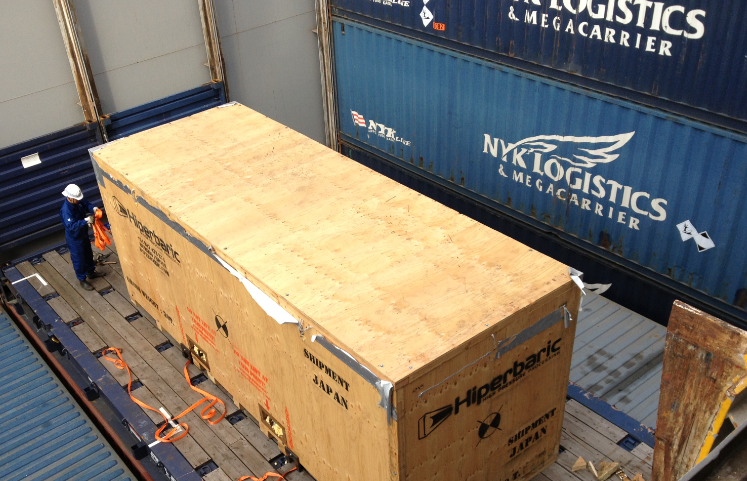 HPP machine loaded in shipment cargo vessel