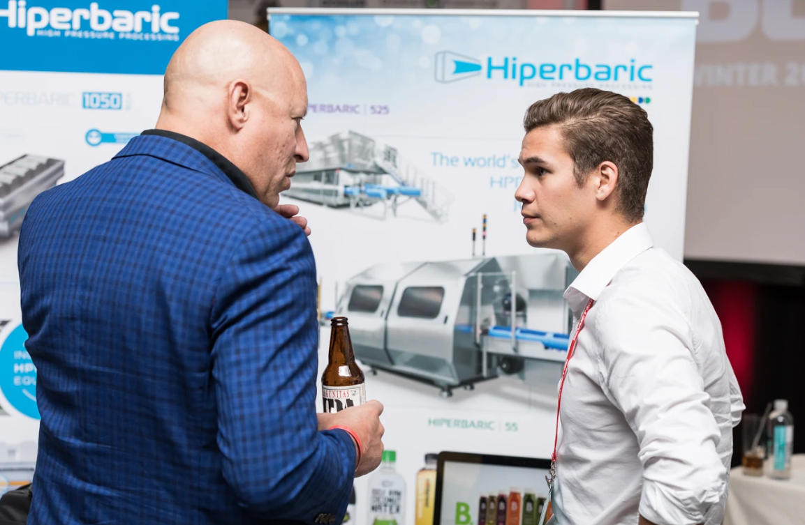 Alexander Marquis, Marketing and Sales from Hiperbaric sharing insights with attendee at Bevnet Live 2017