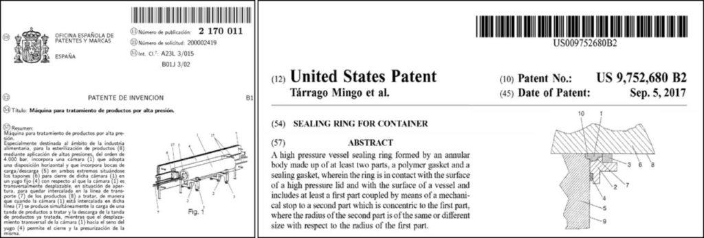 Portada de dos de las patentes de propiedad industrial que Hiperbaric tiene concedidas