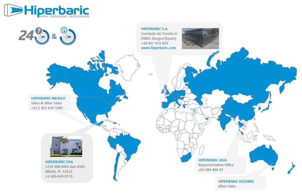 Mapamundi que indica los lugares donde hay oficina de Hiperbaric