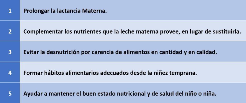 Objetivos de la Alimentación Complementaria. Fuente: http://www.fao.org/3/am283s/am283s05.pdf