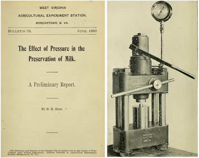Figure 1. Front page of Hite's report describing the effect of HPP in the preservation of milk (left) and HPP equipment used to pressurize milk samples (right) (Hite, 1899)
