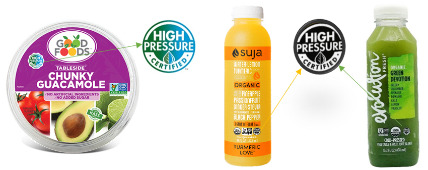 Examples of the application of CPC logo, in Good Foods, Suja and Evolution Fresh.