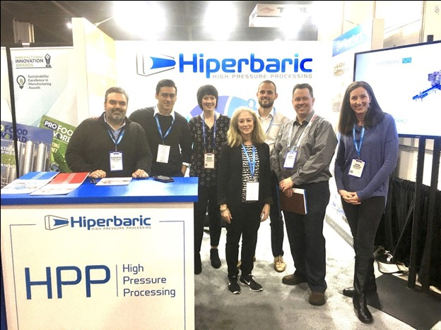 Pictured from left to right: Roberto Peregrina, Hiperbaric USA Director, Anthony Zapata, Hiperbaric, Marketing & Sales Specialist, Jenny Tuggle, Universal Pure, Marketing Manager, Wendy Alpine, Alpine Communications, President & CEO, Oscar Garcia, Hiperbaric, Marketing & Sales Specialist, Andy Hanacek, National Provisioner, Editor-in-chief, and Ann Warren, Alpine Communications, Editorial and Media Relations.