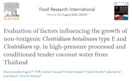 Figure 3. Open Access reference article published in Food Research International with promising results evaluating the factors with an influence in C. botulinum growth in HPP coconut water